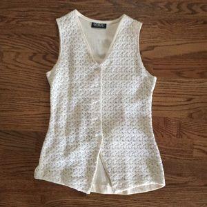 Vest by Wrapper. Cotton crochet front